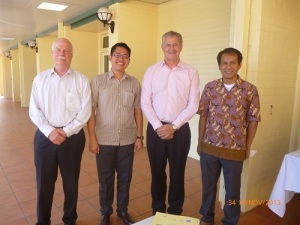 (Right-left) Executive Director of ISD Barliana Amin, CEO of Australian Services Roundtable Ian Birks, Public Outreach Officer of ISD Daniel Purba and Senior Lecturer of UQ Business School Dr. Paul Brewer.